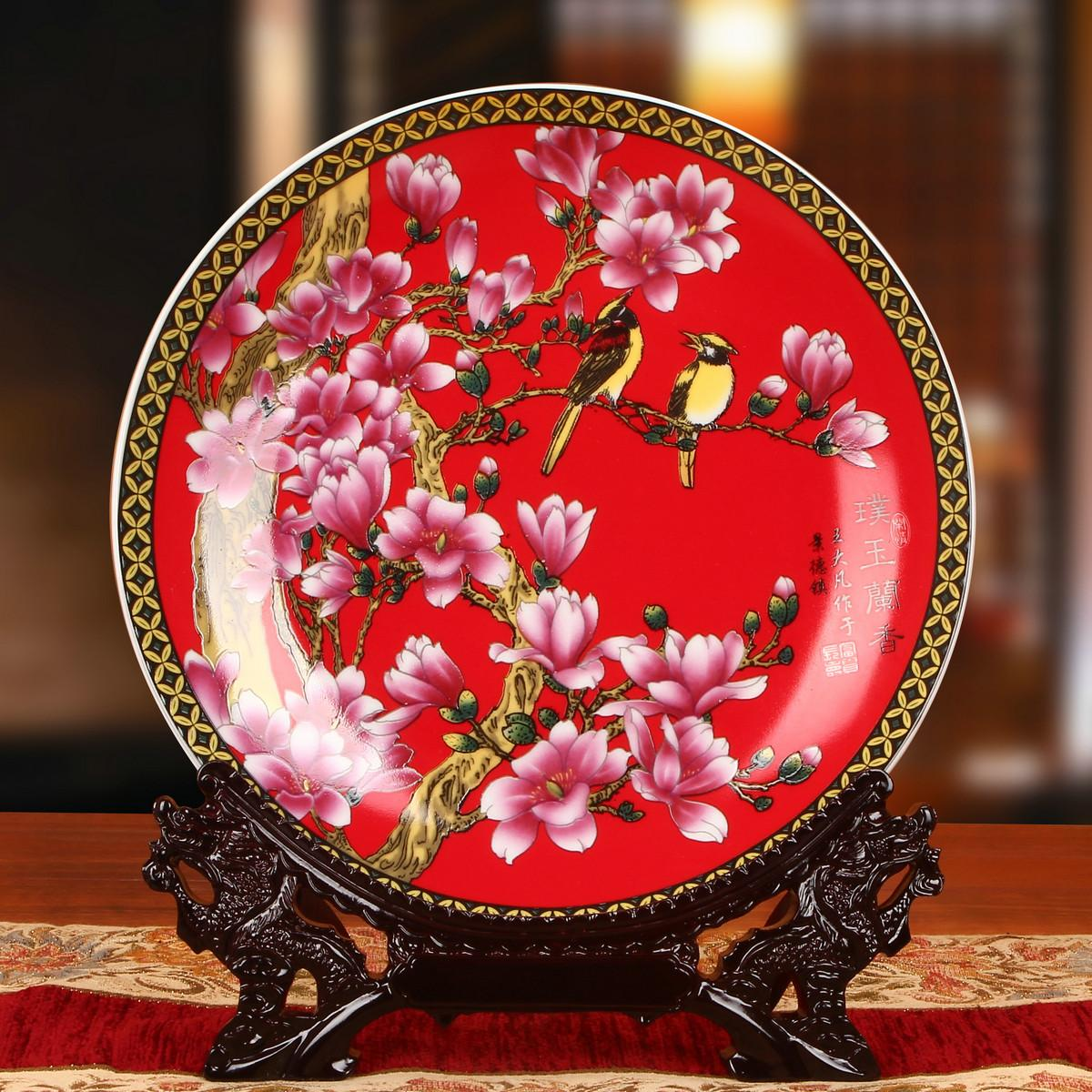 Jingdezhen Ceramic Works Red Orchid Bird Plate Disk Chinese Style Classical 58 Decoration Asian Creative Luxury Art Works