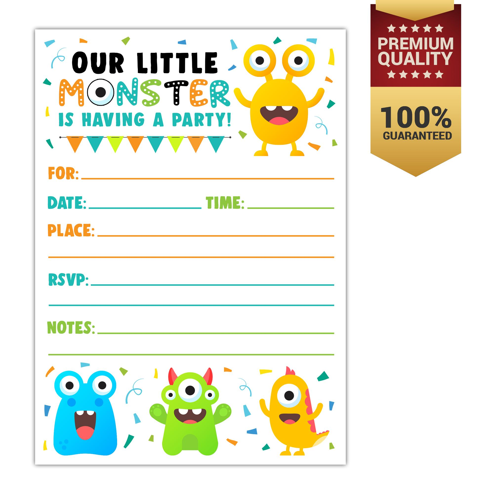 Invitation cards for sale party cards online brands prices cute monster birthday party invitations for kids 10 count with envelopes stopboris Images
