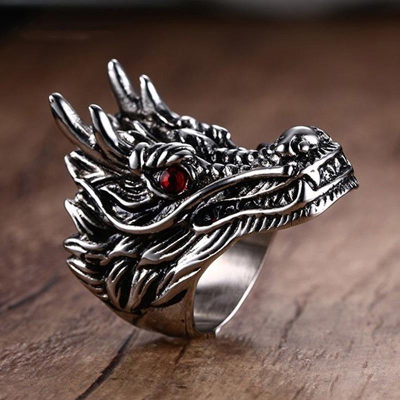 Mprainbow Lak-laki Vintage Gothic Dragon dengan Merah Zirkon Mata Cincin untuk Pria Punk Anti