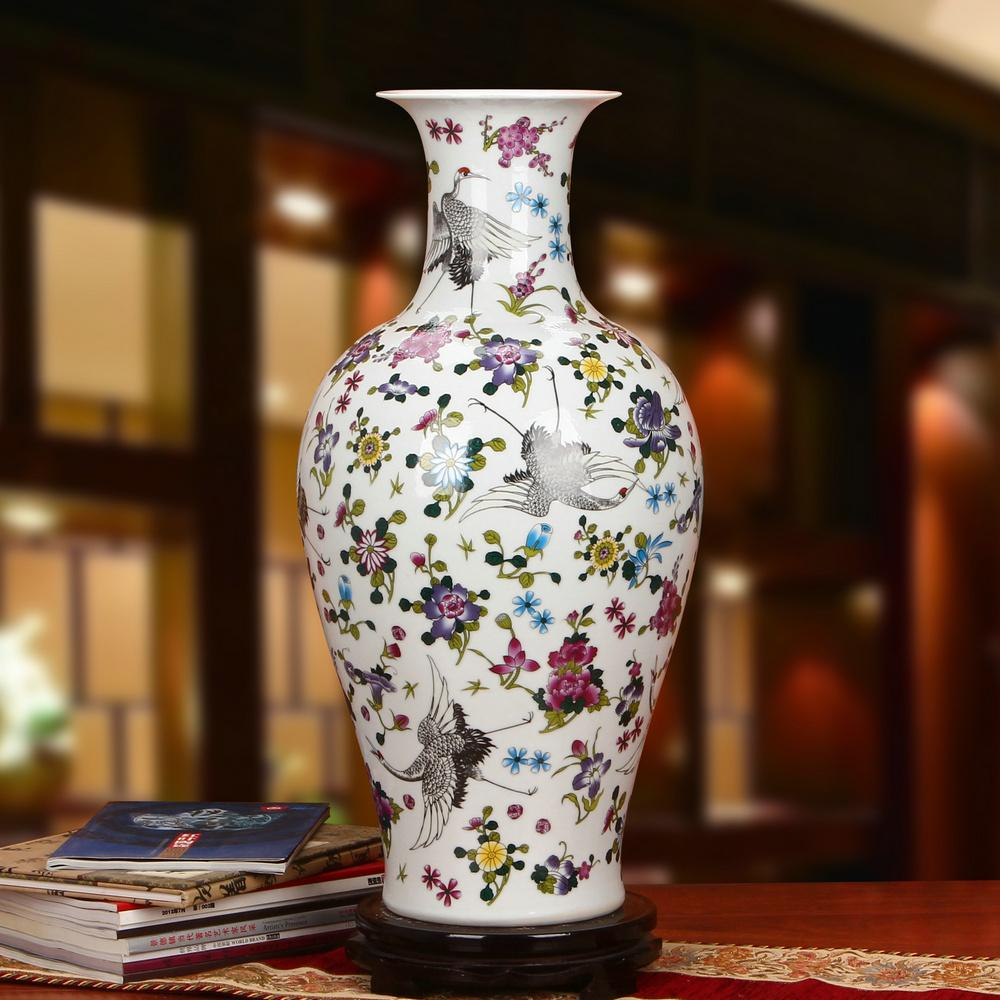 Jingdezhen Ceramic Works Pastel Night Light Songhe Guanyin Large Floor Vase Modern Chinese Style 58 Craft Ornaments