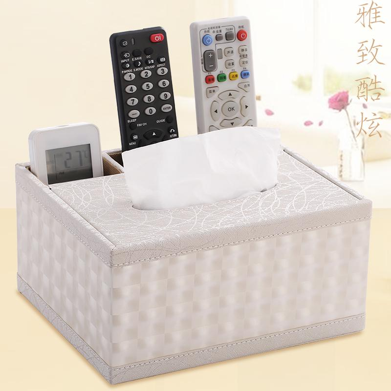European Style Household Tissue Box Living Room Teapoy Table Creative Leather Desktop Remote Control Storage Box Nordic Minimalist Paper Extraction Box