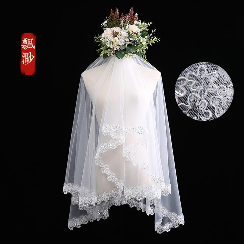 Kerudung Gaun pengantin model baru Model Korea 2019 model pendek pengantin wanita menikah Renda kerudung putih