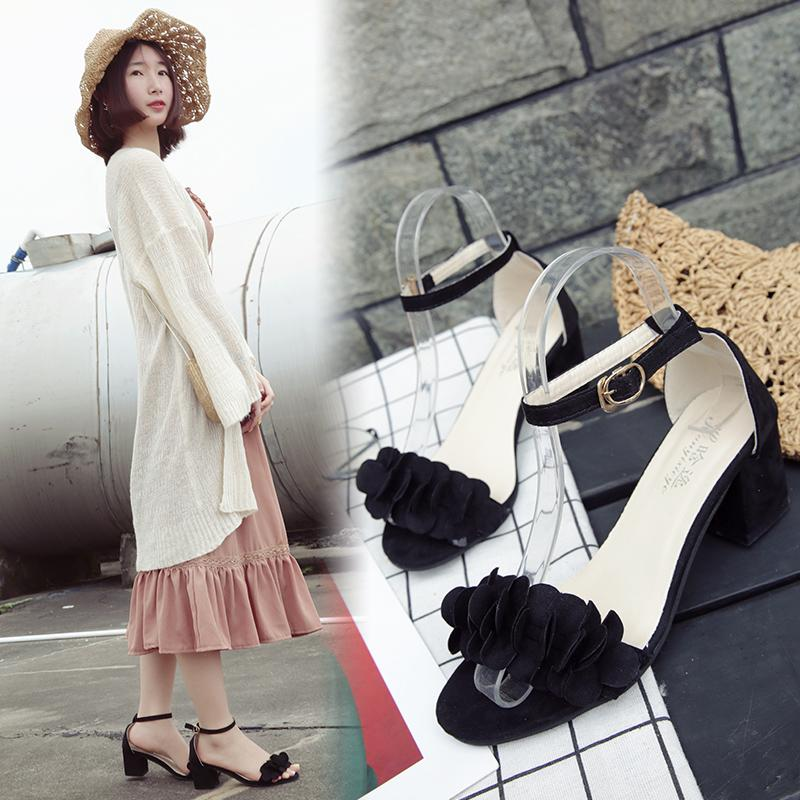 2953400e7 Sandals Female 2019 Summer New Style Korean Style Sweet HUADO Low Heel Women's  Shoes Straight-