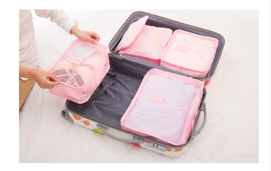 6 bags in different sizes, mesh on one side and solid on the other; Material: Polyester
