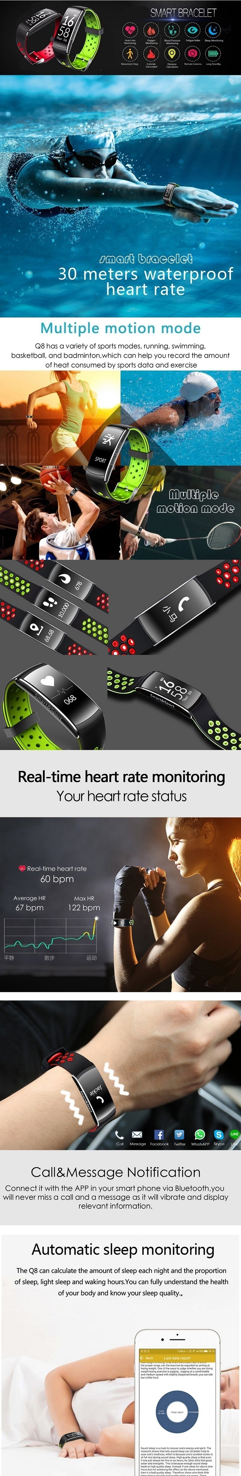 Product details of Q8 Wristband Heart Rate Blood Pressure Monitor Smart Watch IP68 Water Proof Fitness Tracker For Android And IOS Phone - intl