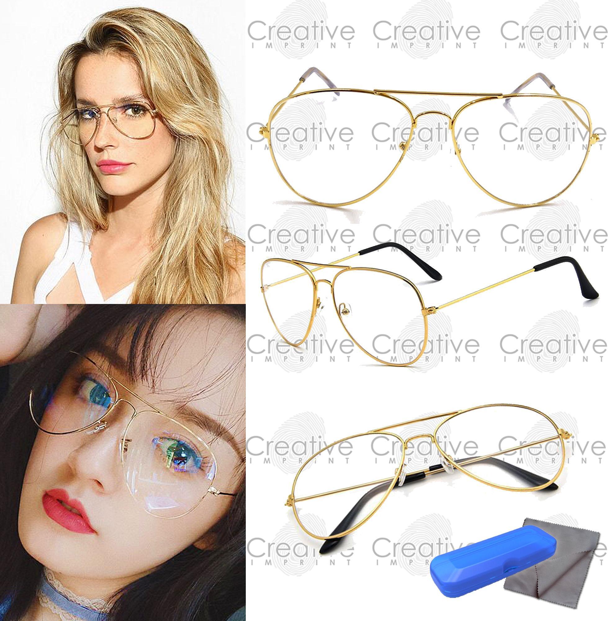 Creative Imprint Aviator Teardrop Pilot Specs (Clear Lens Gold Frame)  Sunnies Trendy Fashion Eyeglasses f1ec8e220f