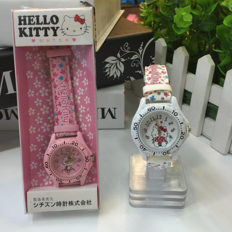 Hello kitty Hello Kitty KT Cat Turntable Candy Watch Child Girl Cartoon Cute Belt Watch Malaysia