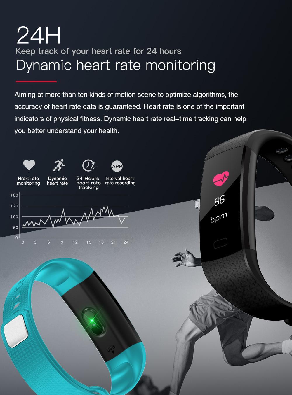 Jyou Y5 Smart Heart Rate Blood Pressure Monitor Fitness Tracker Sports  Bracelet Waterproof Remote camera HD Touch Screen Smart Watchs