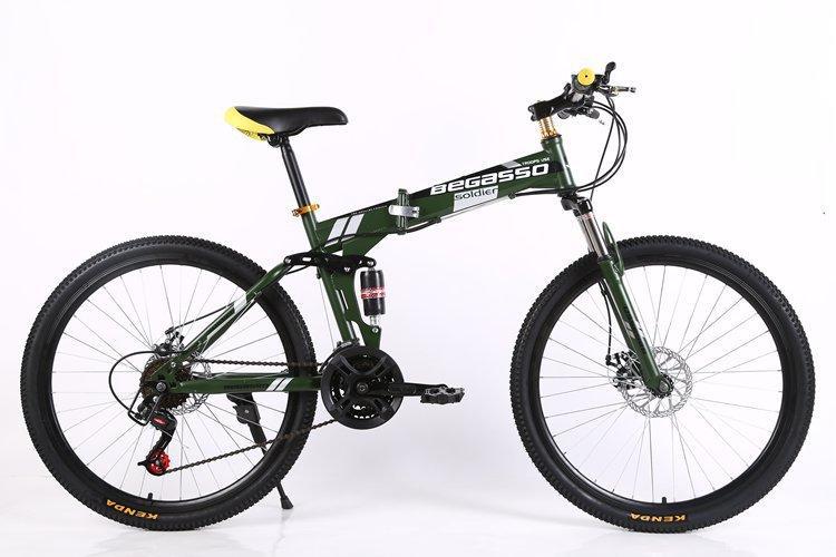 BEGASSO Mens Full Suspenion 24 Speeds Folding Mountain Bike with 17 ...