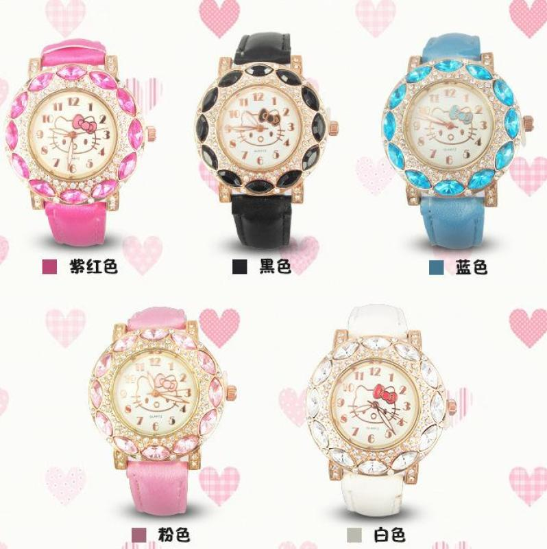 Foreign models explosion models hello kitty kt cat cartoon children girl students diamond belt quartz watch Malaysia