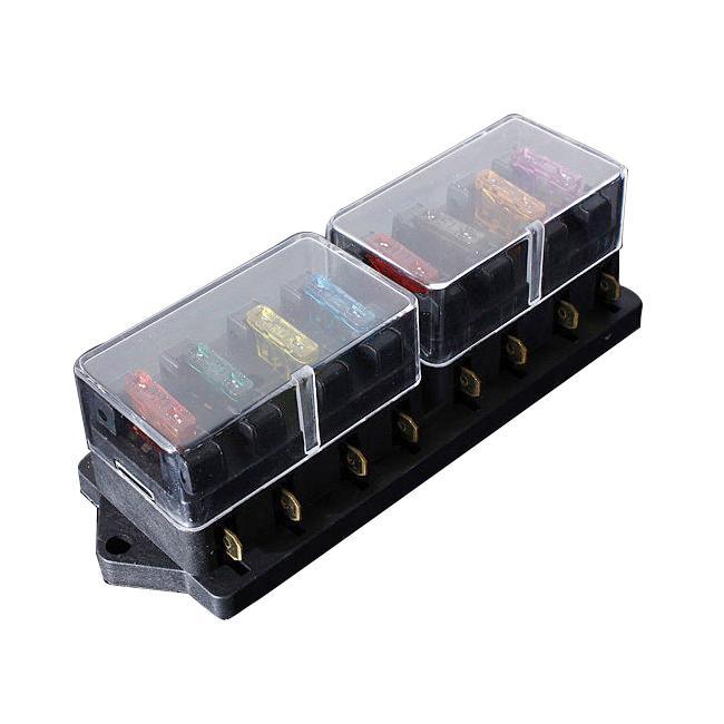 12/24v universal car truck 8 way circuit standard blade fuse box holder  block us