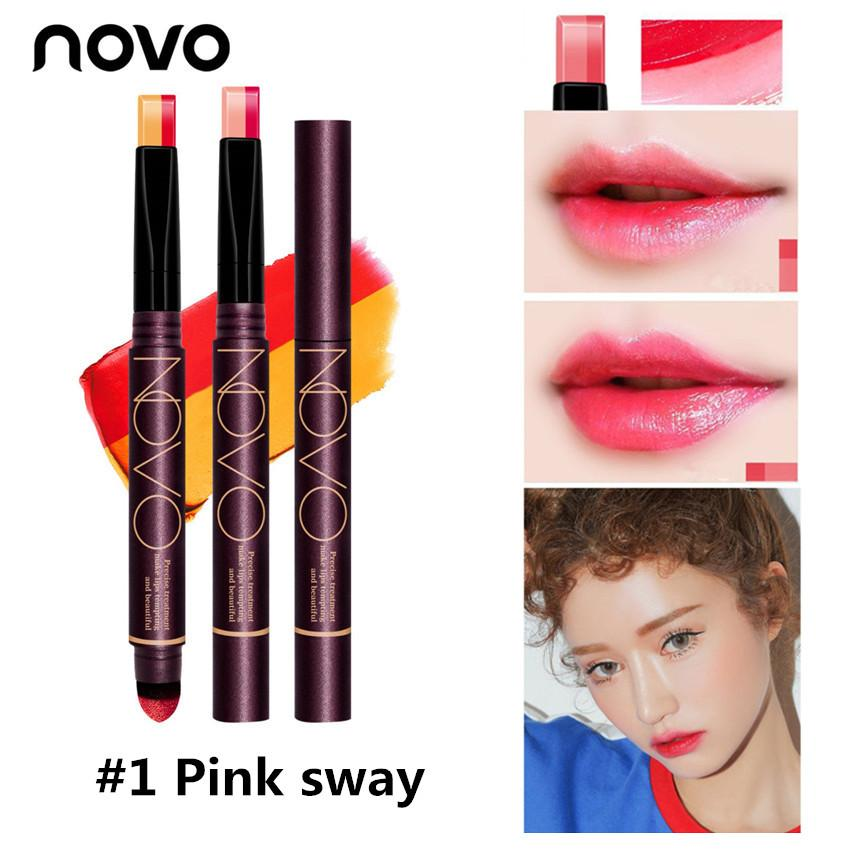 Korea NOVO #5200 2 In 1 Double Color Gradient Lipstick Air Cushion Pen Makeup Philippines