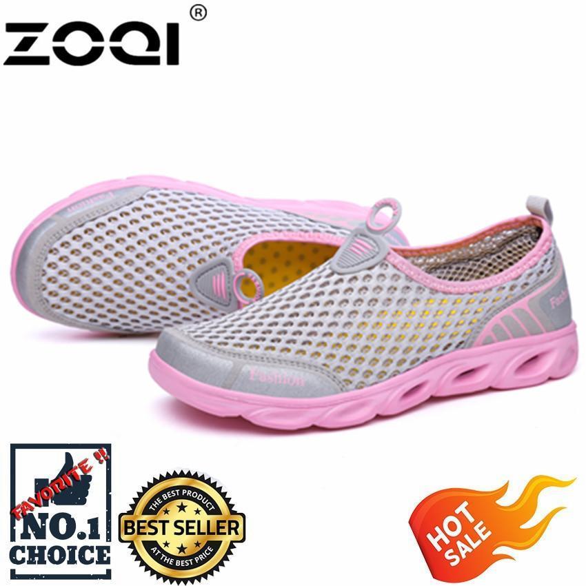 Zoqi Pria dan Wanita Fashion Mesh Ringan dan Dapat Bersirkulasi Sport Sepatu Sepatu Air (Merah Muda)-Intl