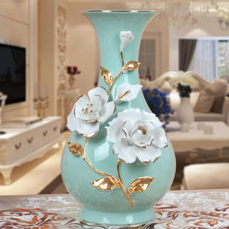 European Style 58 Decoration Vase Clubhouse Flower Holder Ceramic Gold Foil Rose Vase Living Room Jade Porcelain Vase Wine Cabinet Decoration