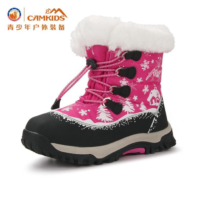 Camkids Anak Prempuan Boots Salju 2018 Musim Dingin Anak Perempuan Anak-anak Anti Selip Tambah