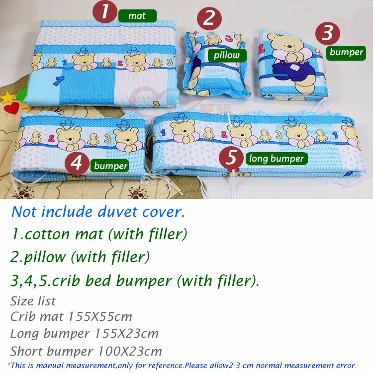 91fe22da01c7 5Pcs baby crib bedding set 100x58cm newborn baby bed set crib bumper ...