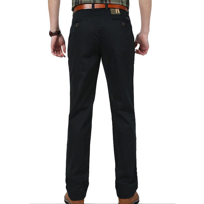 Medan Perang Bisnis Warna Polos Ramping Lurus Pants Man Pakaian Pria Celana Cargo (Hitam)