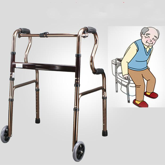 Aluminum Alloy Multifunctional Walker Aid the Aged Old People with Wheel Four Leg Crutch