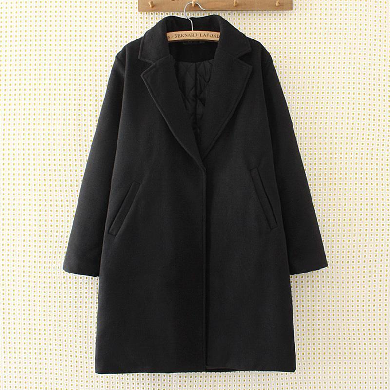 MM Mantel Katun Wanita Ukuran Besar Jaket Parka Katun Lebih Tebal Ukuran Plus (057-Hitam)