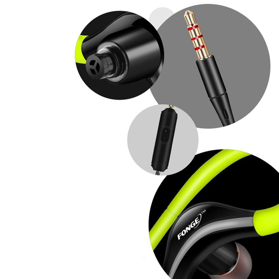 Alat Pendengar Stereo Olahraga Dengan Hook Telinga Kontrol Volume Mikrofon Headphone Lari