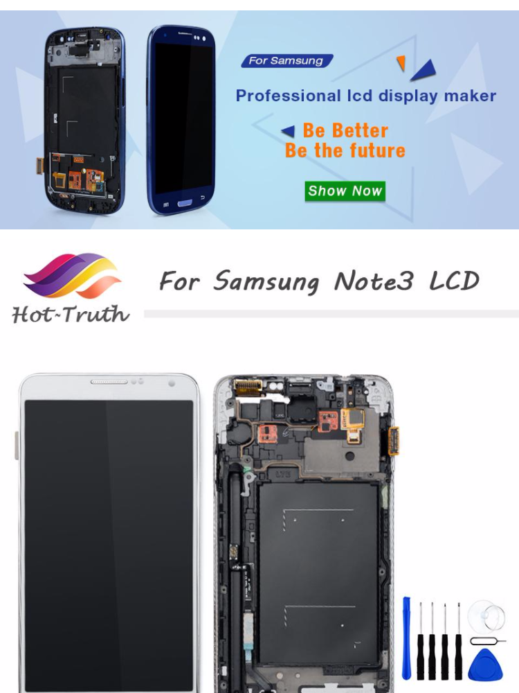 For Samsung Note 3 N9005 N900A N9000 N900 LCD Display Touch Screen  Digitizer with Bezel Frame Full Assembly AAA Top Quality