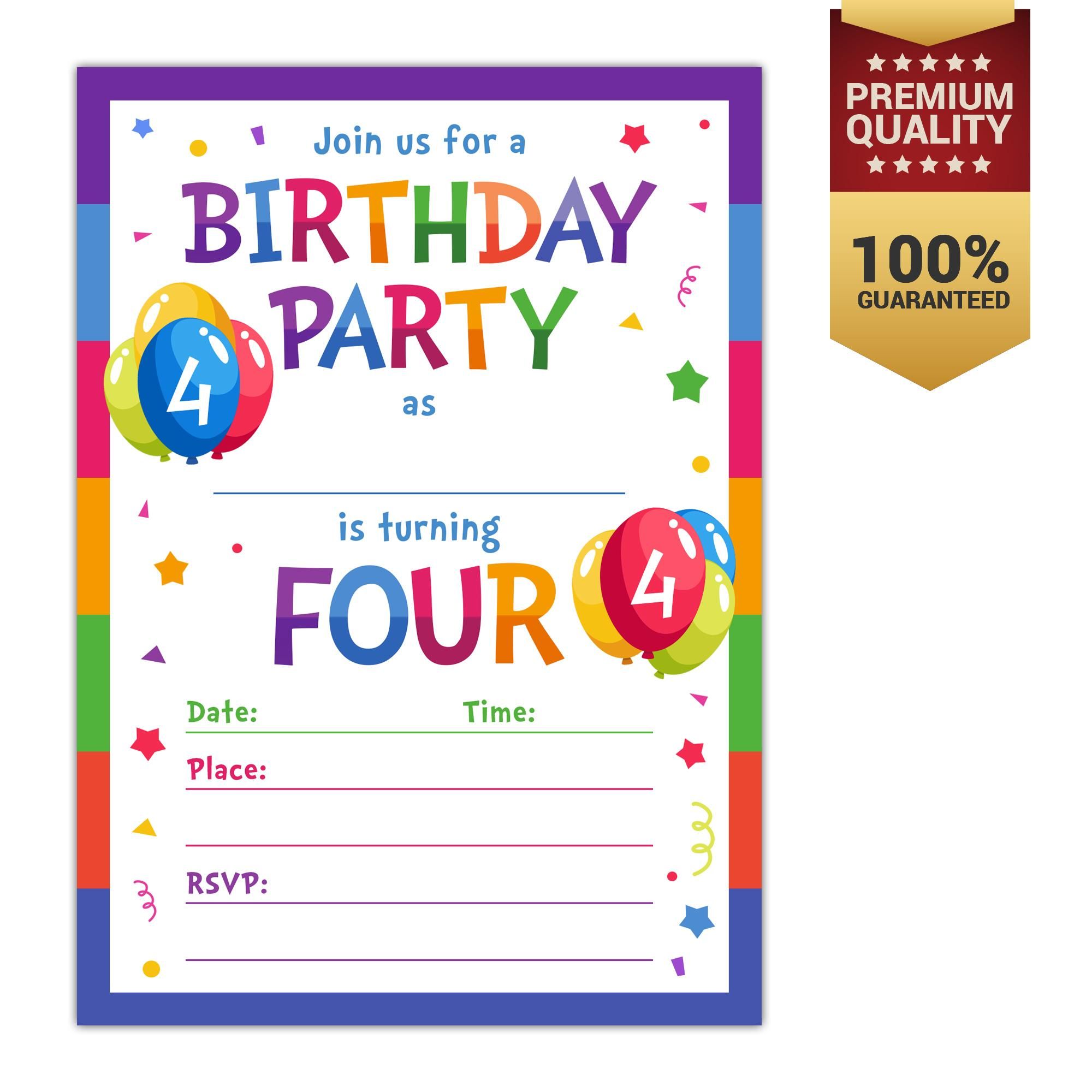 Invitation cards for sale party cards online brands prices 4th birthday party invitations with envelopes 10 count 4 year old kids birthday stopboris Image collections