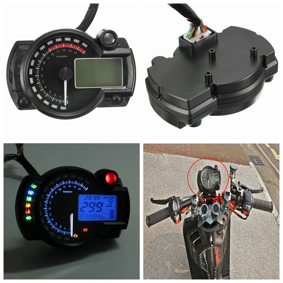Blue Backlight Lcd Digital Motorcycle Motorbike Speedometer Odometer Tachometer 4 In 1 Inch254cm 3 The Color Of Actual Items May Slightly Different From Listing Images Due To Computer Screen Thanks For Your