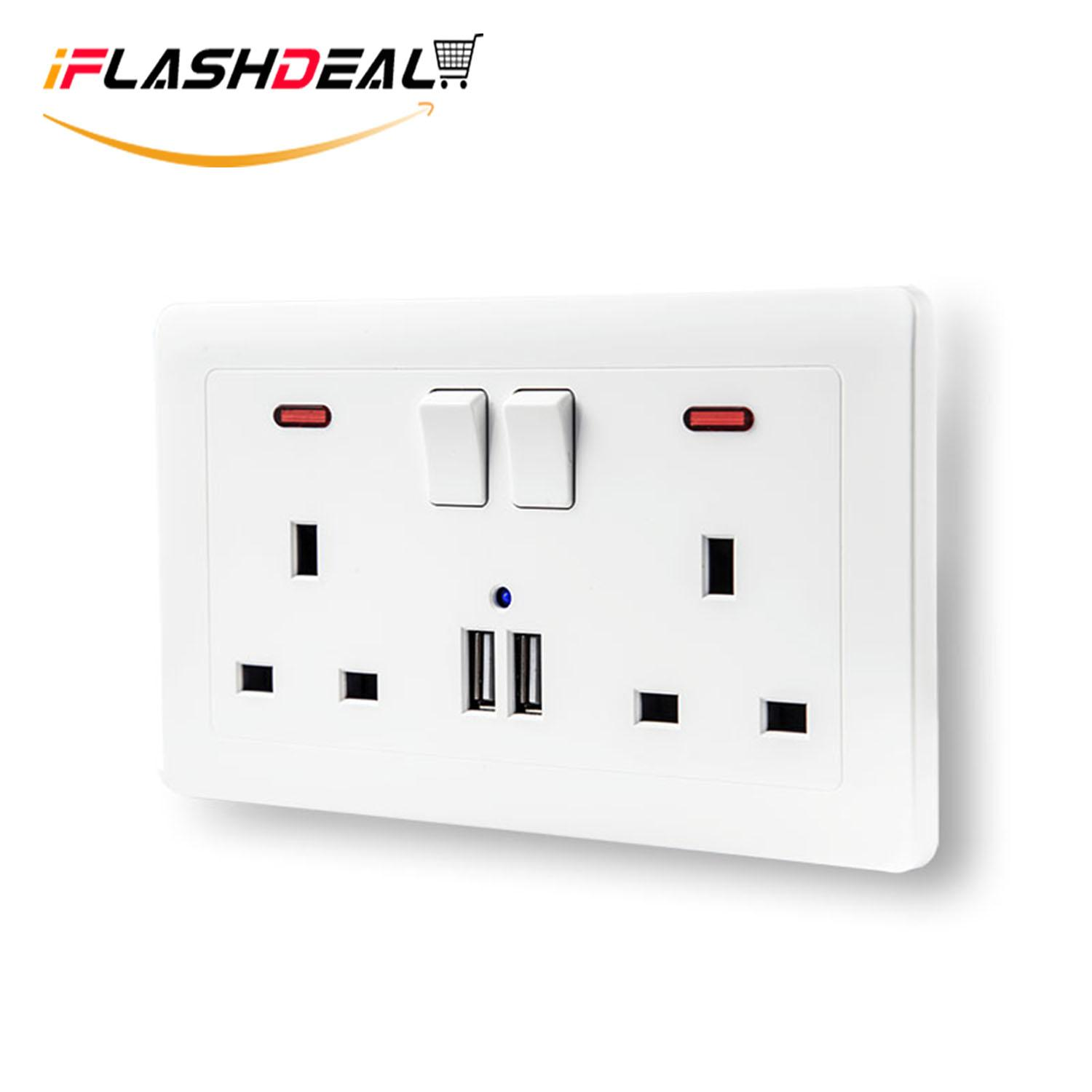 Iflashdeal Usb Wall Socket Wall Plug Socket With 2x Usb Outlet Ports 2.1a By Iflashdeal.