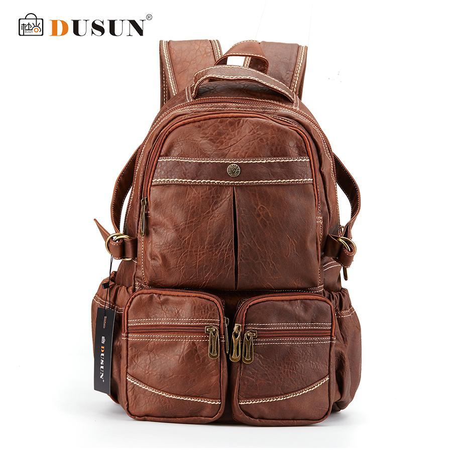 DUSUN New New Leisure Backpack High Quality Leather Travel Bag Vintage Fashion Vintage Backpack Laptop Backpacks School Bags - intl