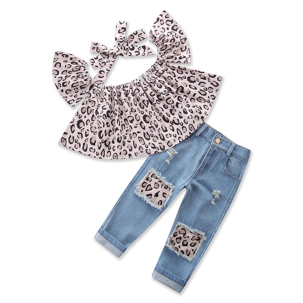 0b75ed2e46d Baby Clothes Girls Suit Summer daily Clothing Leopard Grain fashion Tops  Jeans Pants Headband 3pcs Kids