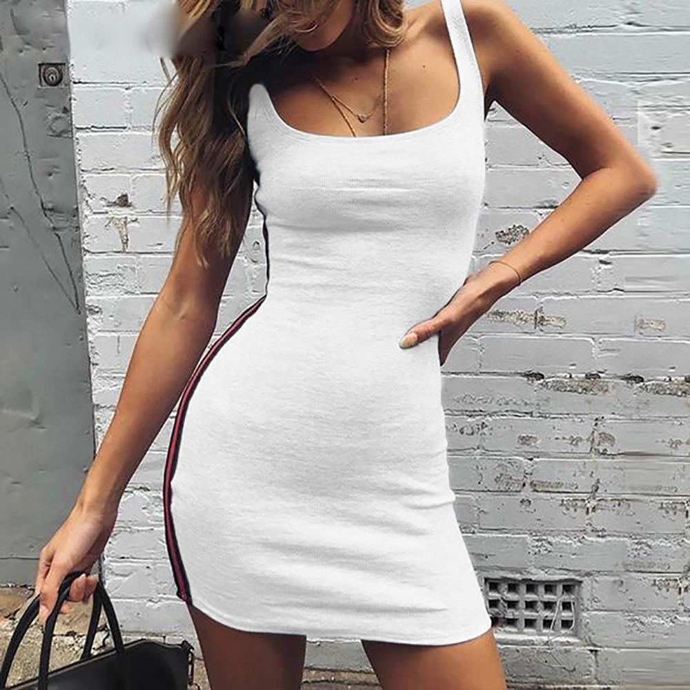 Gaun untuk Wanita Gadis Gaun Rok Wanita Bergaris Leher O Tanpa Lengan Gaun Bodycon Kasual Mini Pant