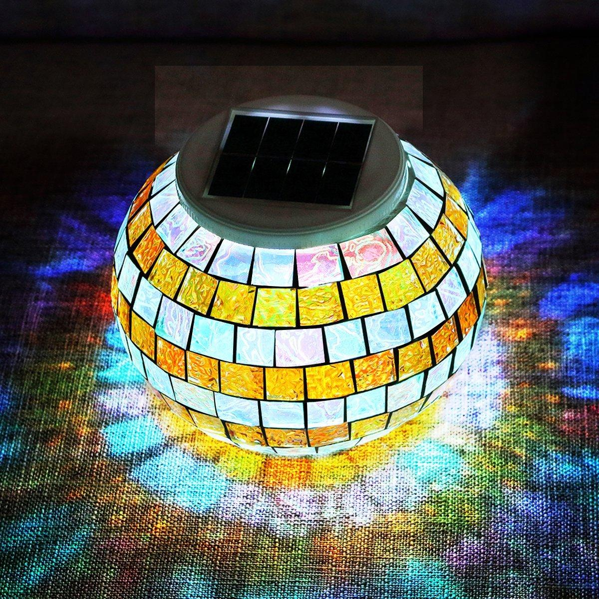 Led Color Changing Solar Table Lights Mosaic Glass Ball Outdoor Garden Night