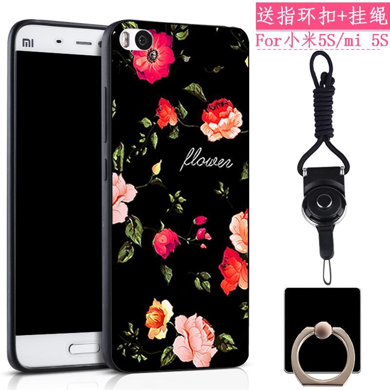 Xiaomi 5S Casing HP Silikon lunak anti jatuh MI5s tali gantungan m5s Casing minimalis Baur Bungkus Penuh kepribadian kreatif putra-putri model pasang Jepang Korea Imut Kartun gemetar jaringan Suara Merah pasangan Chasing luar