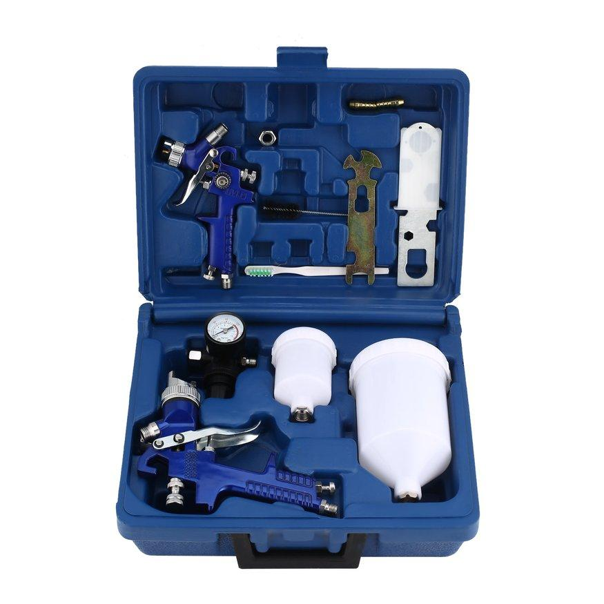 UINN HVLP Air Gravity Spray Paint Gun Set W/ 2 Sprayer Paint Nozzle 0.8 mm + 1.4 mm blue & silver Philippines