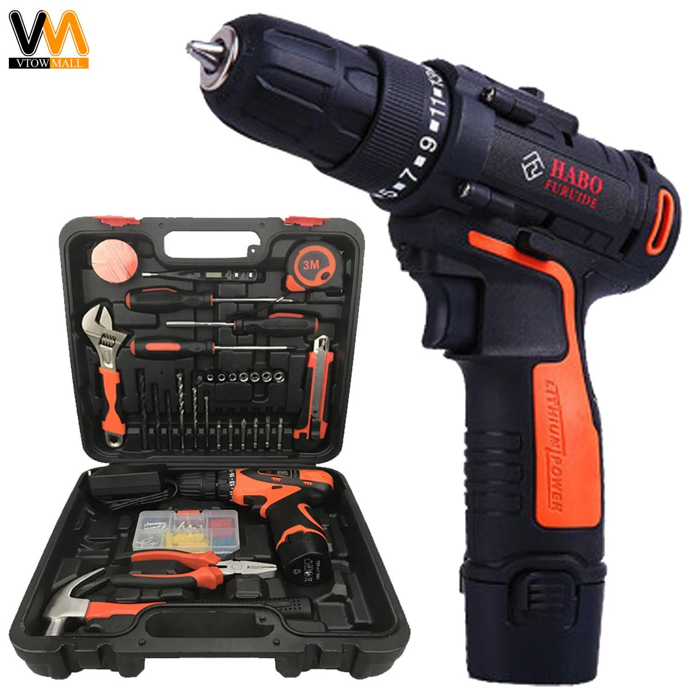 Cordless Screwdriver Drill Tools Set Rechargeable 40cmflexible Mesin Bor Baterai 10mm Aeg Bsb12c2li 2 High Power Drilling