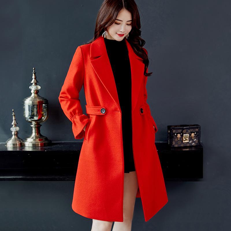Caidaifei 2018 musim gugur musim dingin model baru Gaya Korea Terlihat  Langsing baju wanita Warna Polos b124c34215