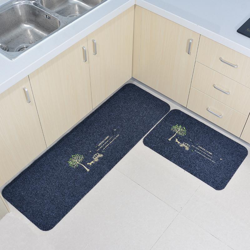 Kitchen Floor Mat Anti-slip Oil Resistant Doorway Strip Water Absorption Mat Dirt Waterproof Carpet Coaster Anti-slip Pad Household Long