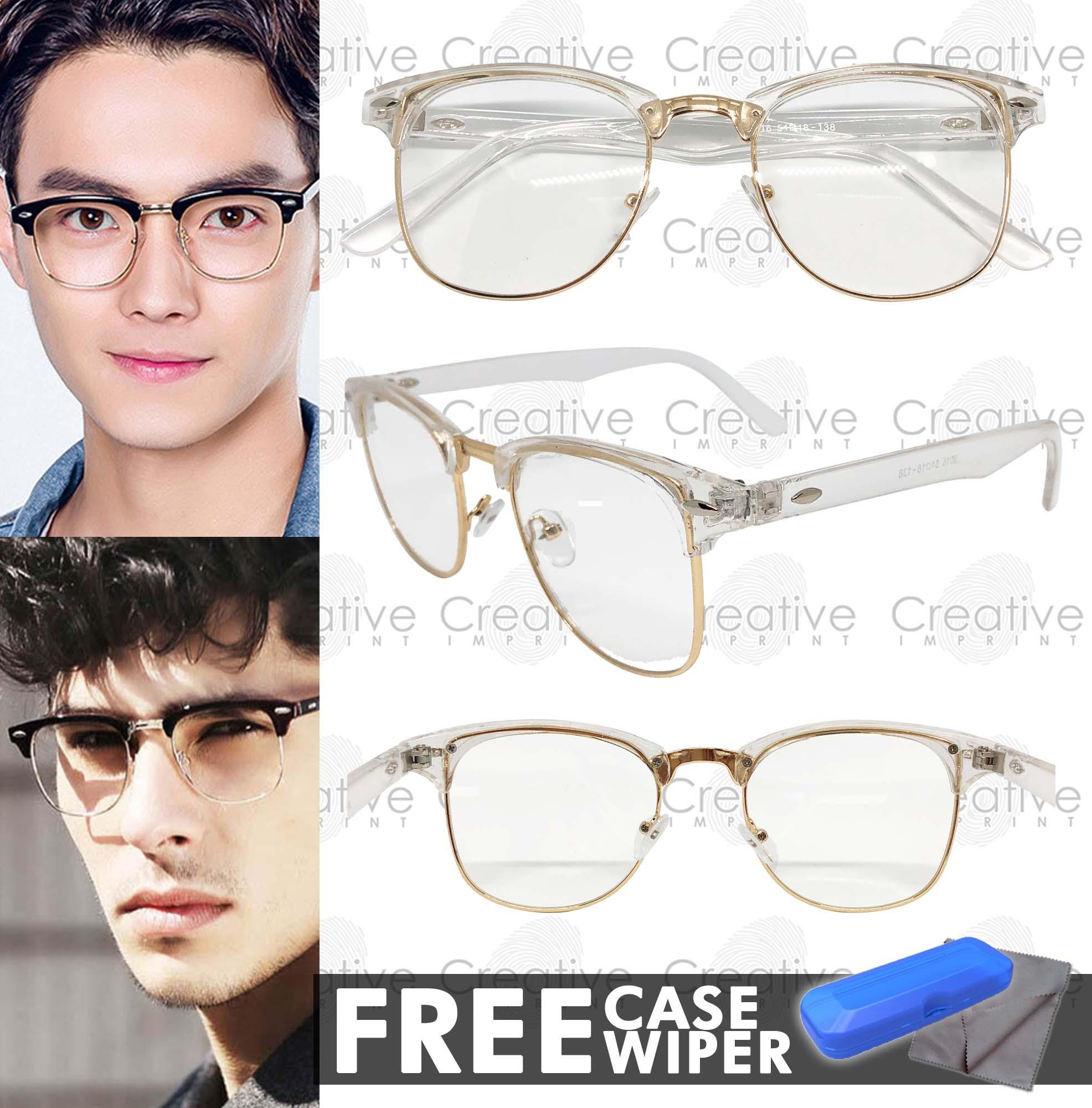 55b1aa8871ad7 Creative Imprint Eyeglasses Replaceable Lens (Clubmaster  01 White Gold)  Premium High Quality Specs