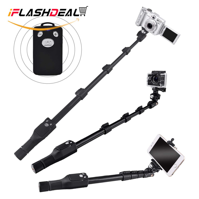 iFlashDeal Tongsis Profesional Aluminium Paduan Selfie Tongkat Monopod, Bluetooth Jarak Jauh untuk Apple, Android, & DSLR Kamera GoPro (Dapat Diperpanjang Sampai 49