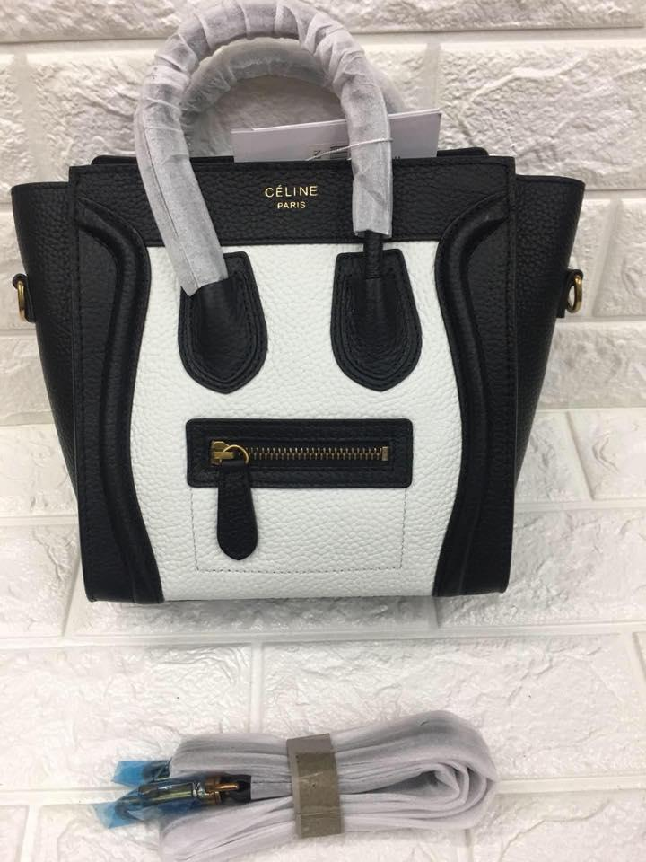 Celine Paris Authentic Nano Size Luggage Tote Bag (White And Black) 612ae2aa182ef