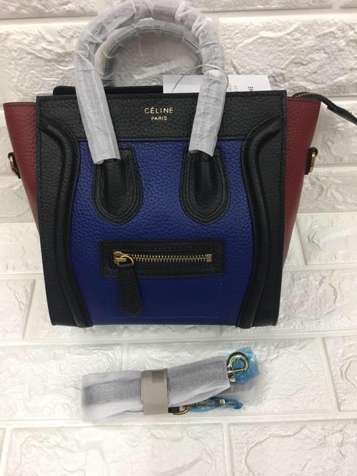 Celine Paris Authentic Nano Size Luggage Tote Bag Blue Black And Maroon