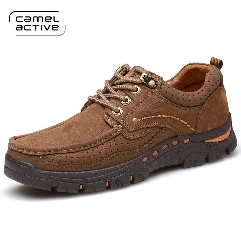 Jerman Camel Active sepatu pria sepatu kasual luar ruangan Kulit asli Sepatu Sepatu pria Pria Perkakas Olah Raga sepatu Daki gunung pasang