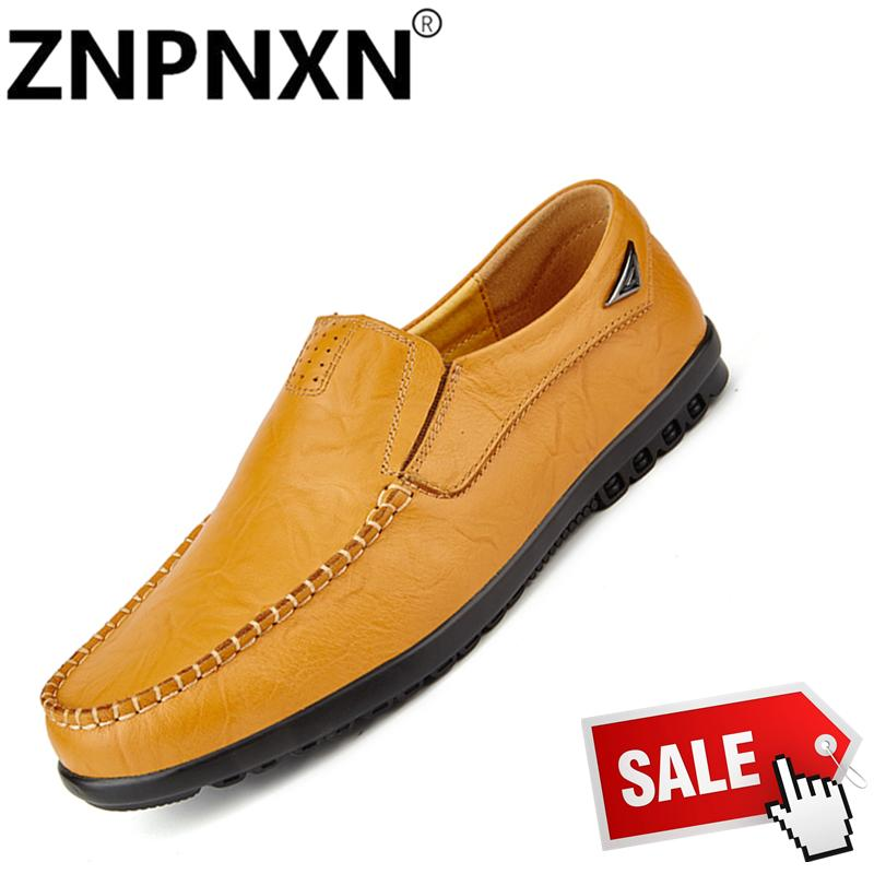 ZNPNXN Men'S Soft Leather Casual Shoes Spring Summer Men'S Shoes Casual Shoes Leather Flat Driving Shoes - intl