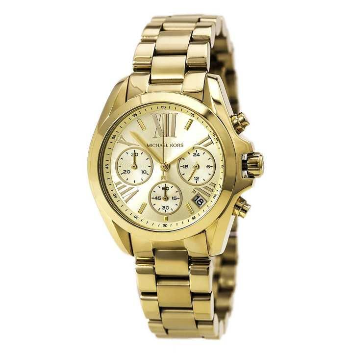 MK Michael Kors Bradshaw Watch (Gold) Stainless Steel Strap for Men and Women