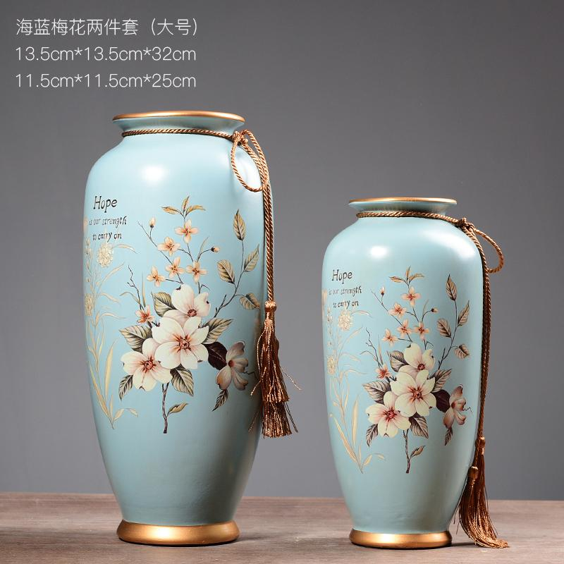 New Chinese Style Ceramic Vase Soft Decoration American 58 Dry Flower Holder Vintage Model Room between Living Room Asian Creative Luxury Art Works