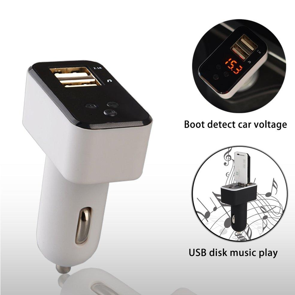 Dual Usb Car Charger Blueto*th Mp3 Player Support Fm Hands Free Calling (White)
