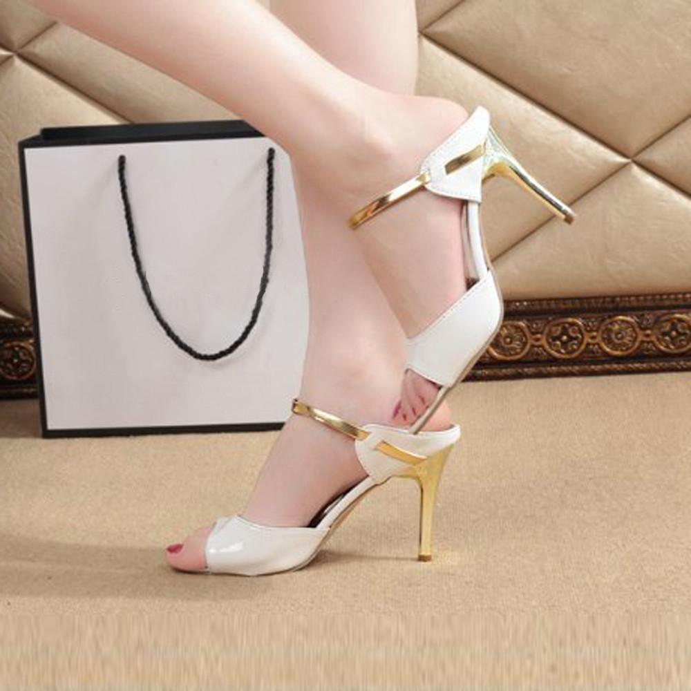 Teresastore Fashion Women Ladies Sandals Ankle High Heels Block Party Open Toe Shoes By Teresastore.