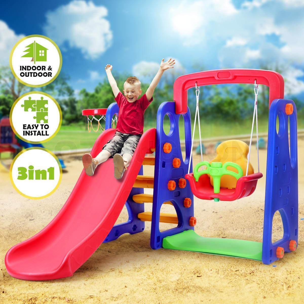 3 In 1 Kids Slide Swing Basketball Ring Activity Center Toddlers Outdoor  Play Toys Set