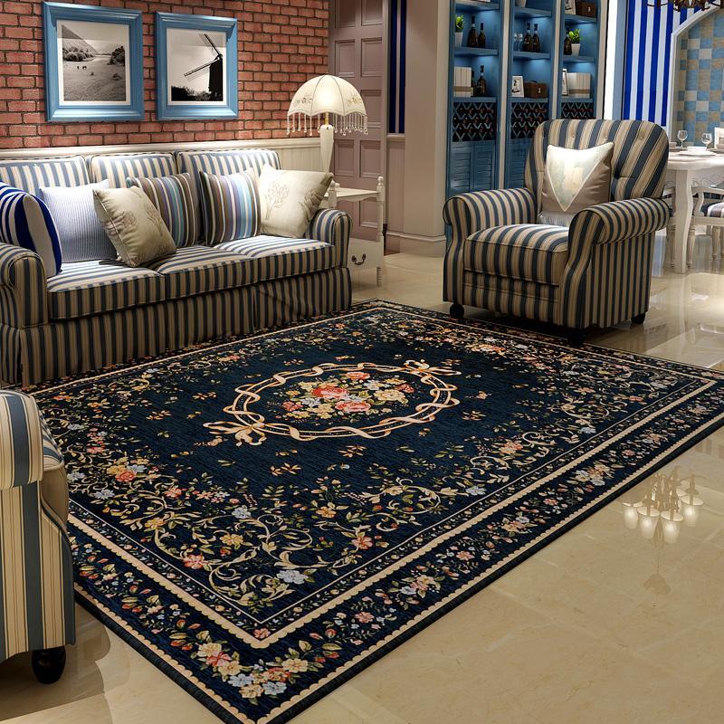 众弘 Mediterania warna biru Anyaman karpet chenille kamar tidur ruang tamu Meja tamu bulu pendek Karpet Gaya Folk