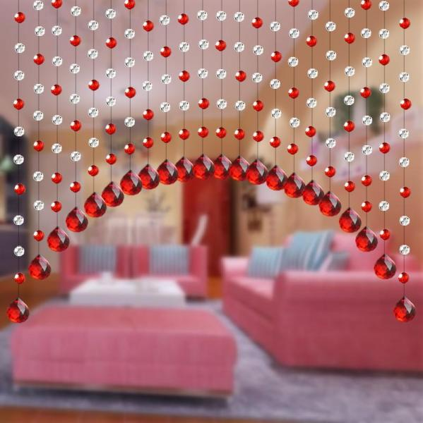 Favorite Concubine Crystal Bead Curtain Partition Living Room Hallway Bedroom Arc Door Curtain Finished Product Entrance Bathroom Semi-Trailer Curtain
